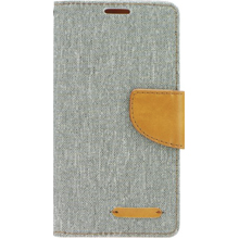 CUSTODIA A LIBRO CANVAS EFFETTO JEANS LG X-POWER GRIGIA